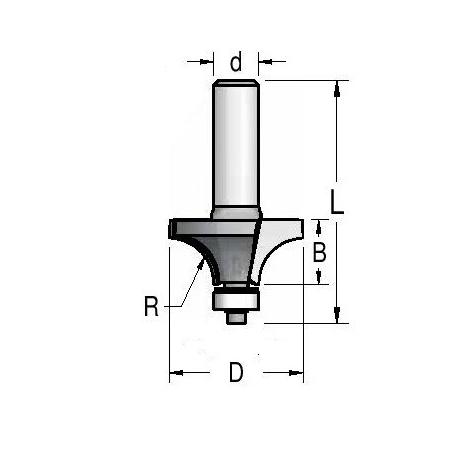 """R 12.7"""" D-38 mm d- 8 mm"""