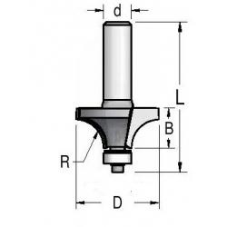 """R 6.35"""" D-25.4 mm d- 8 mm"""