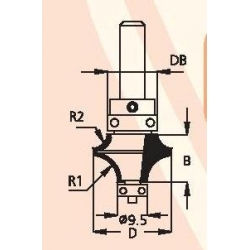 D-22 mm B-13,5 mm DB-16 mm 2 spindulių R-6,3 ir R-3,2 d-8 mm freza HDW0605
