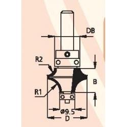 D-25 mm B-15,5 mm DB-16 mm 2 spindulių R-8,0 ir R-4,8 d-8 mm HDW0805