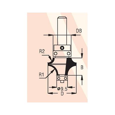 2 spindulių R1-8,0 mm R2-4,8 mm B-15,5 mm D-25,0 mm d-8