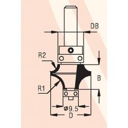 2 spindulių R1-6,3 mm R2-3,2 mm B-13,5 mm D-22,0 mm d-8