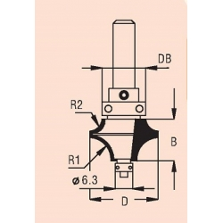 2 spindulių R1-6,3 mm R2-3,2 mm B-13,5 mm D-25,0 mm d-8