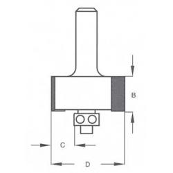 D-11,1 mm B-13,0 mm c-3,2 mm kampo išėmimo d-6 mm E200323