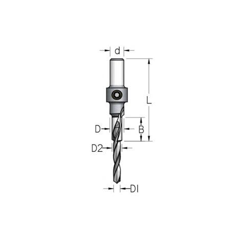 3 pakopų 5,0-7,0-10 mm grąžtas / zenkuotė ACD0707D