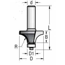 """R 5,0"""" D-22.2 mm d-8 mm"""